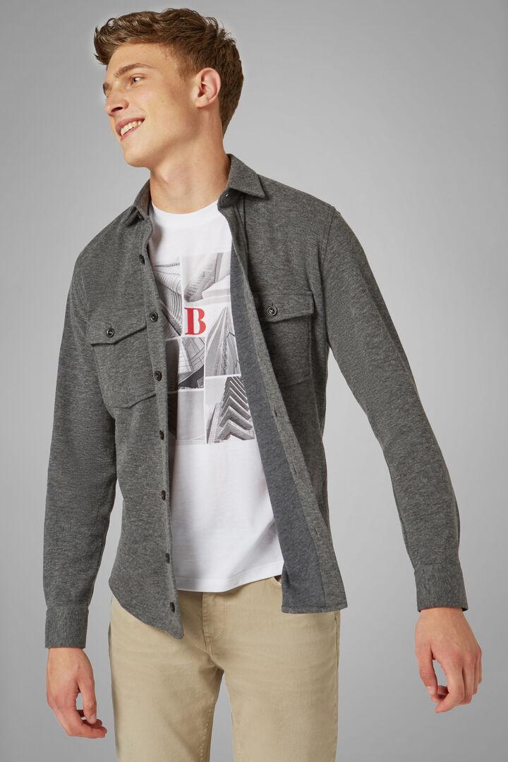 Grey Jersey Overshirt, Grey, hi-res
