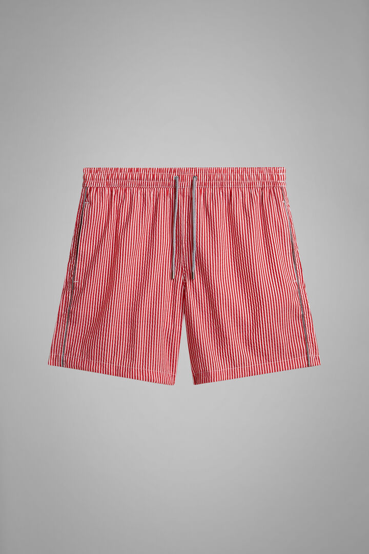 Red Candy Striped Seersucker Swimming Trunks, Red, hi-res