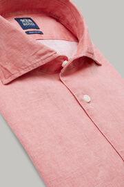 Rotes hemd mit bowling-kragen aus leinen regular fit, Rot, hi-res