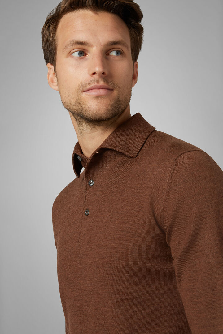 Knitted Extra Fine Merino Wool Polo Shirt, Brown, hi-res