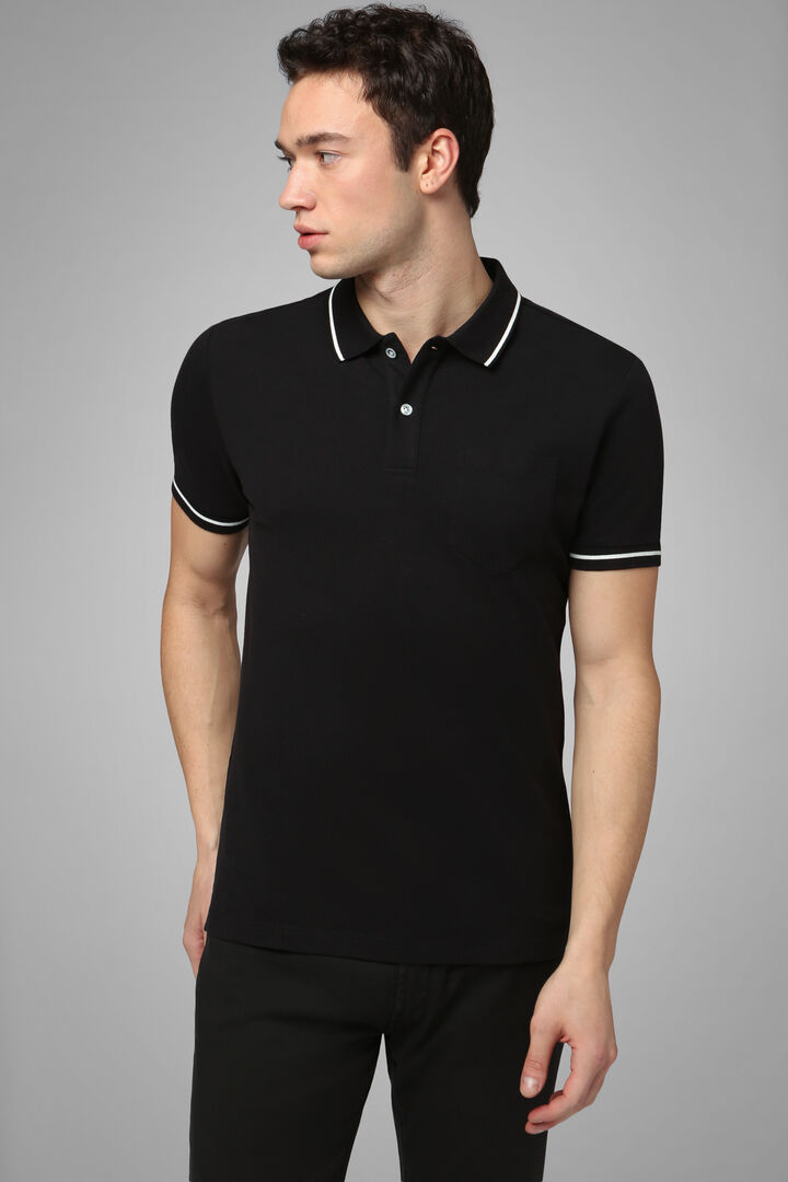 Black Stretch Cotton/Tencel Piqué Polo Shirt, Black, hi-res