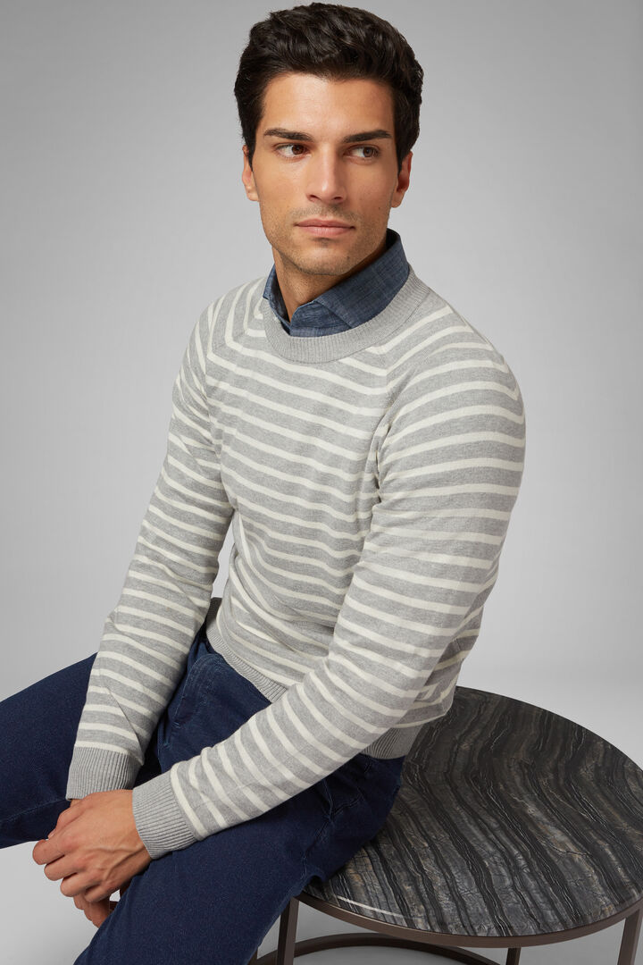 Cotton Cashmere Round Neck Jumper, Grey, hi-res