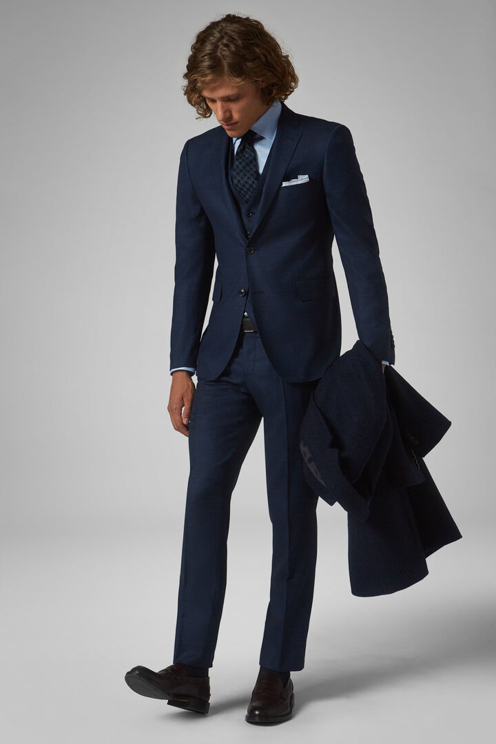 Blue Stretch Wool Nizza Suit, Blue, hi-res