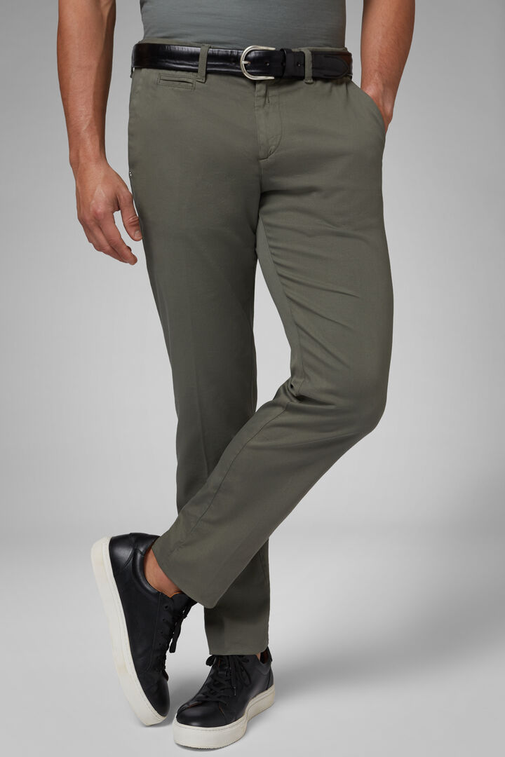 Slim Fit Stretch Panama Cotton And Tencel Trousers, Green, hi-res