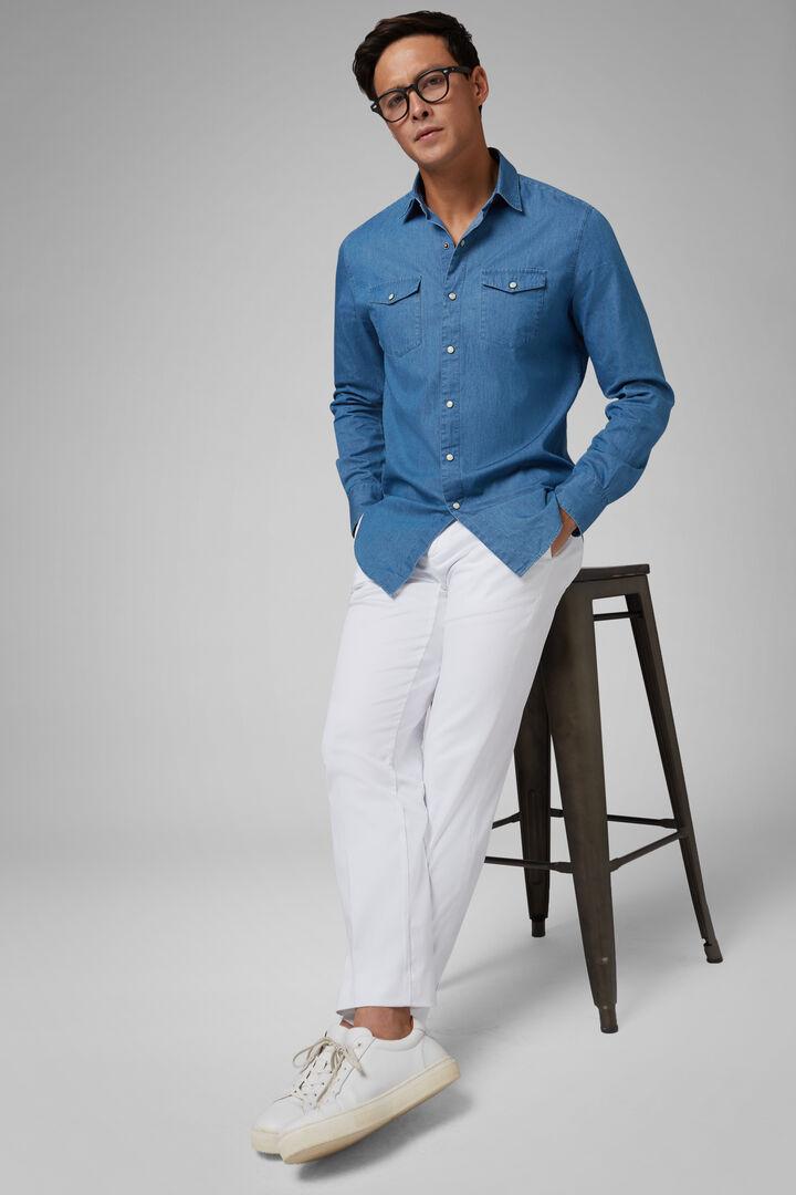 Slim Fit Light Denim Western Shirt, Light Denim, hi-res