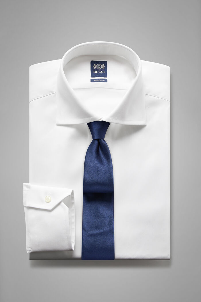 Regular Fit White Shirt With Windsor Collar, , hi-res