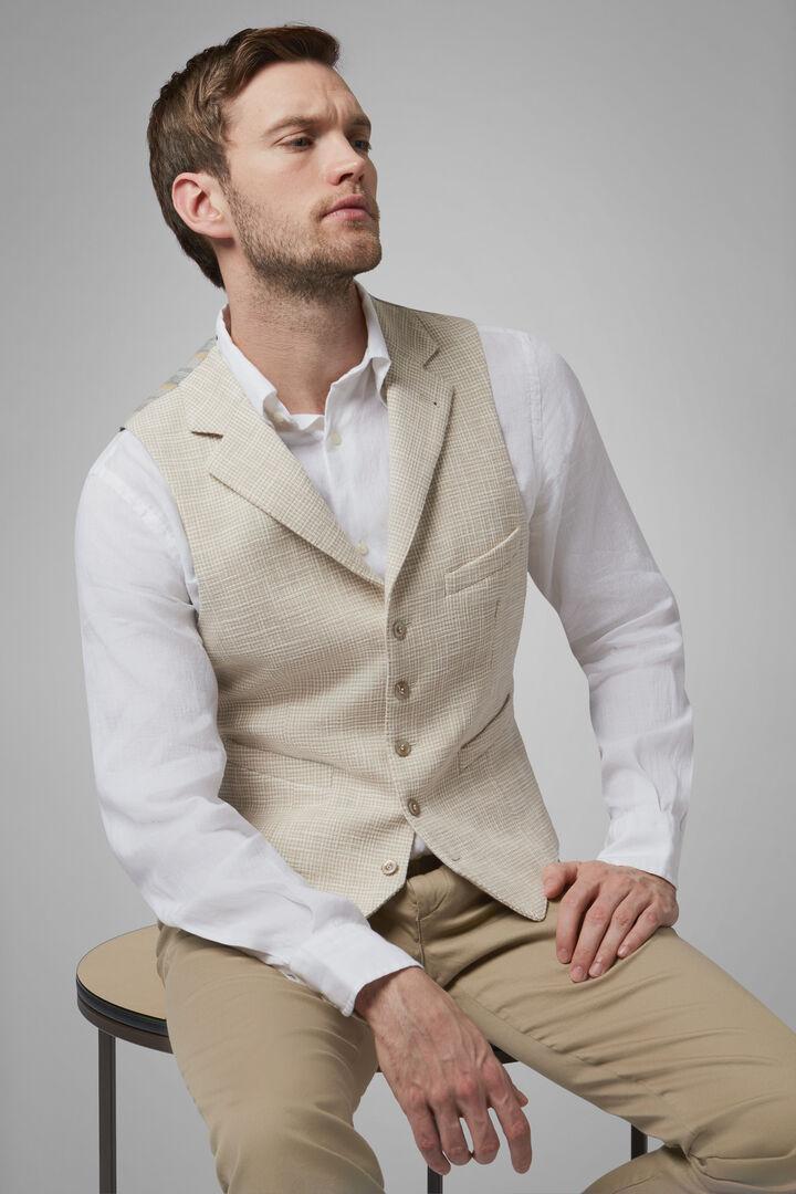 Cotton Peaked Lapel Waistcoat, Beige, hi-res
