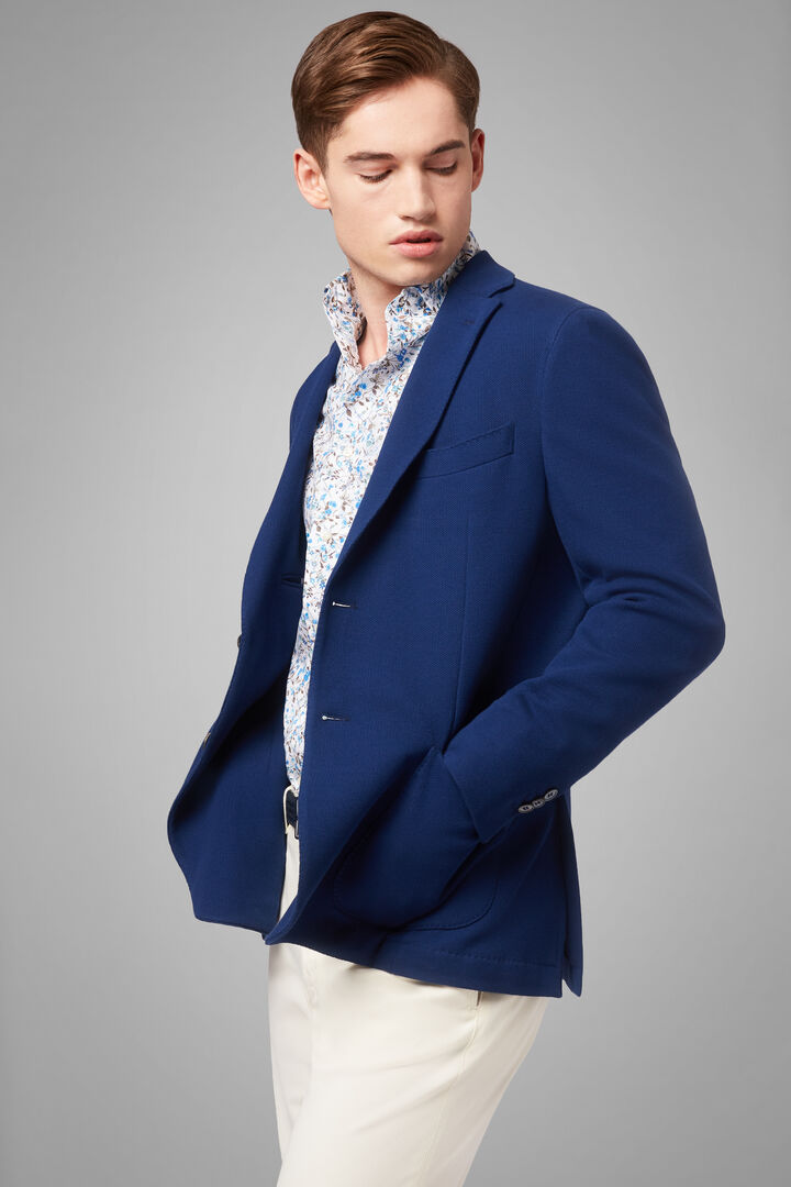 Blazer Bleu Bari En Jersey De Coton Crêpe, Bluette, hi-res
