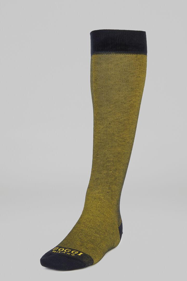 Micro Patterned Long Socks, Mustard, hi-res