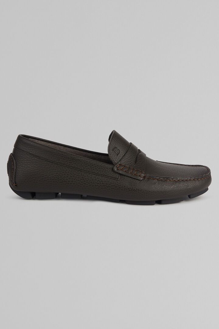 Tumbled Leather Loafers, Dark brown, hi-res