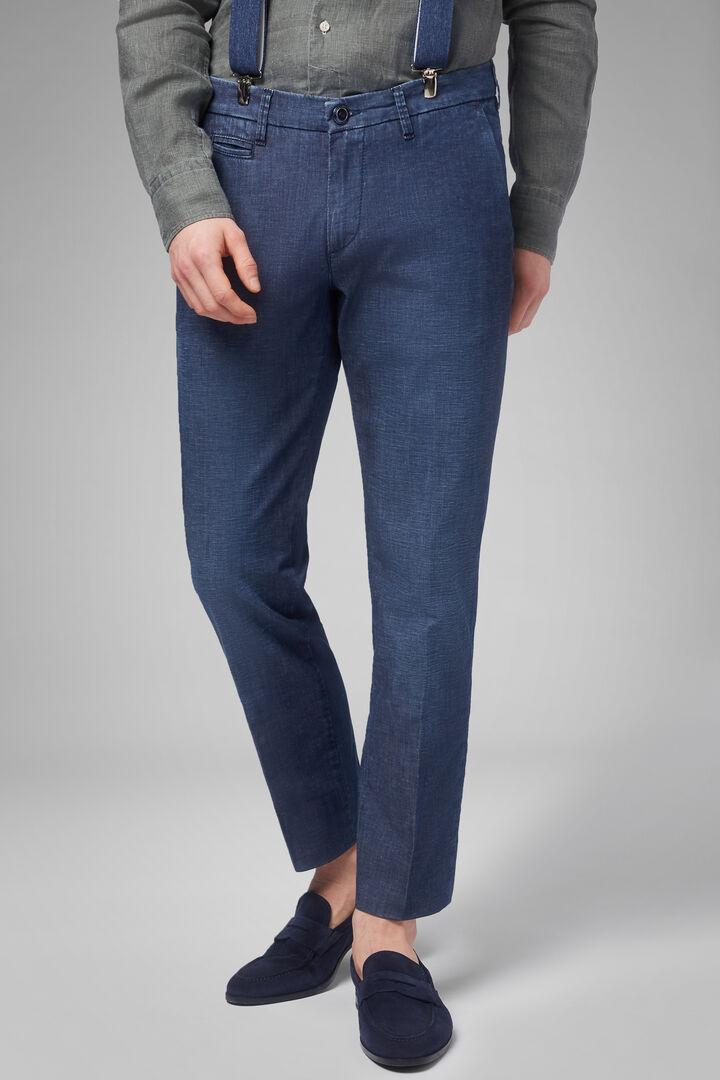 lightweight denim trousers medium wash slim, Indigo, hi-res