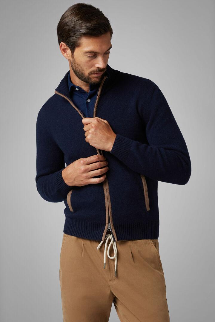 Pure Cashmere Full Zip Jumper, Navy blue, hi-res