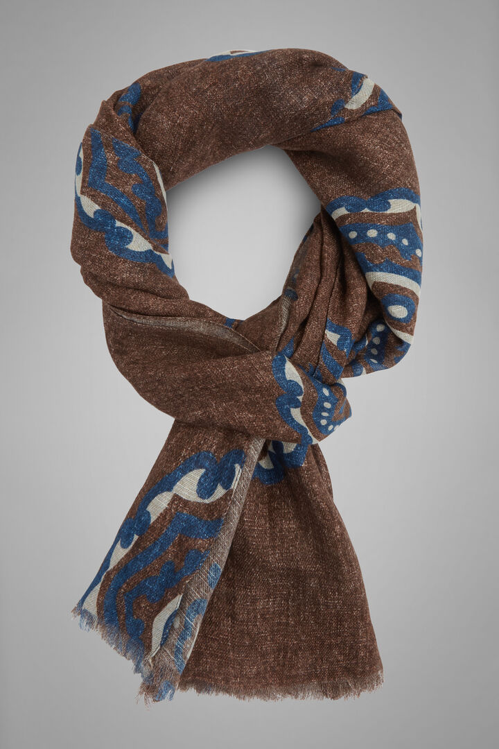 Macro Patterned Printed Cotton & Linen Scarf, Brown - Blue, hi-res