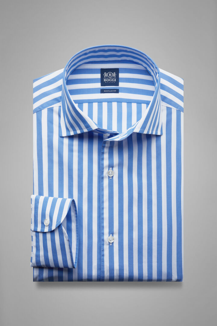 Chemise À Rayures Bleu Ciel À Col Capri Coupe Droite, Blanc - bleu clair, hi-res