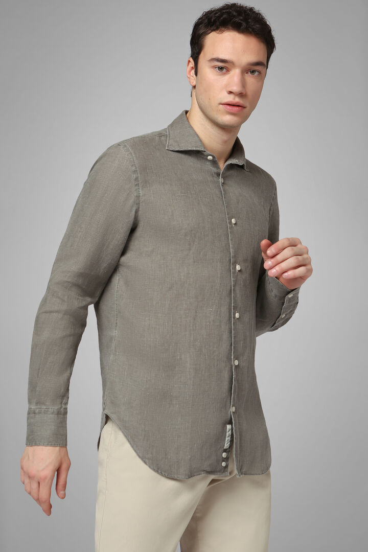 Regular Fit Dark Brown Shirt With Cuban Collar, Dark brown, hi-res