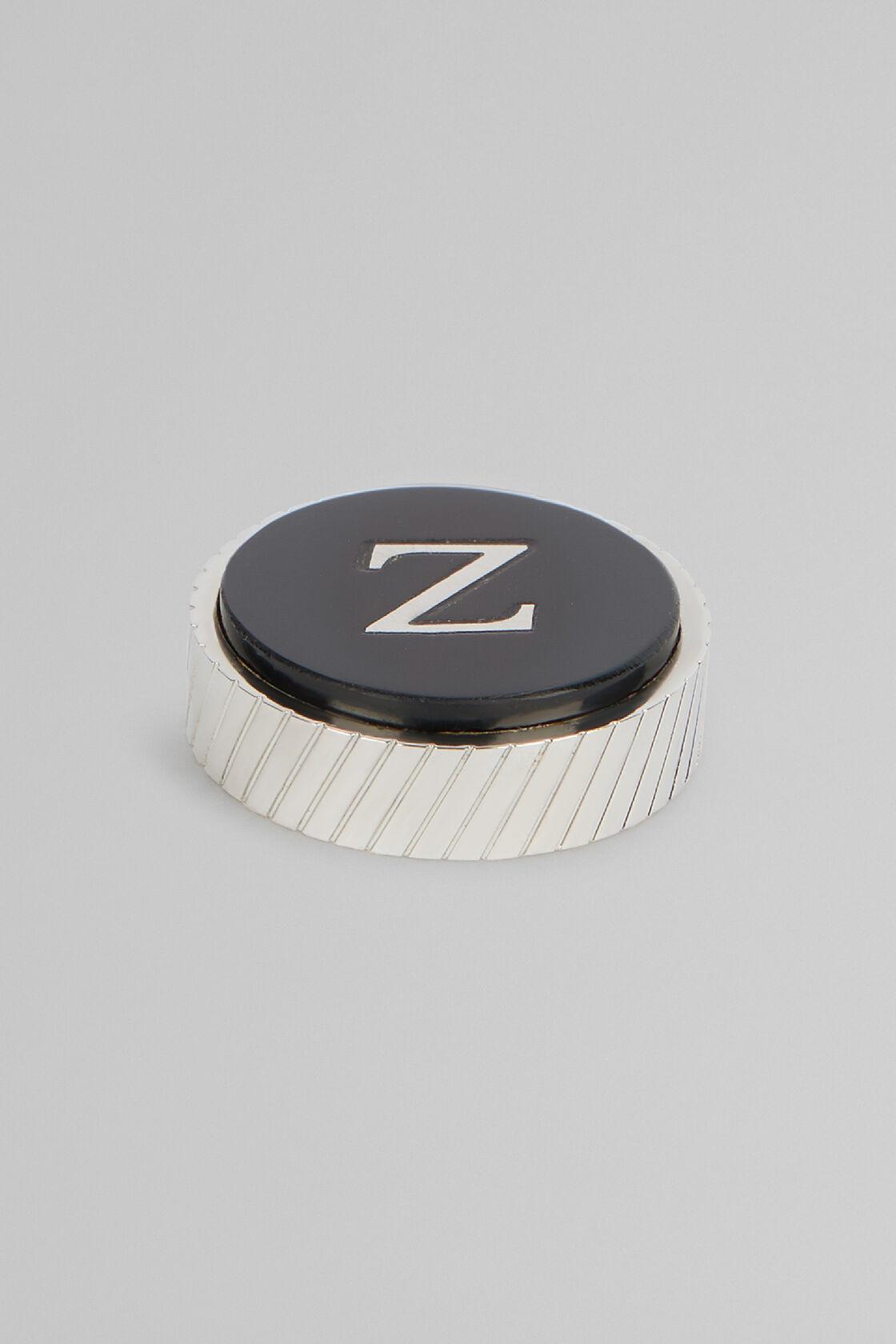 Metal Letter Z Cufflinks, Black, hi-res