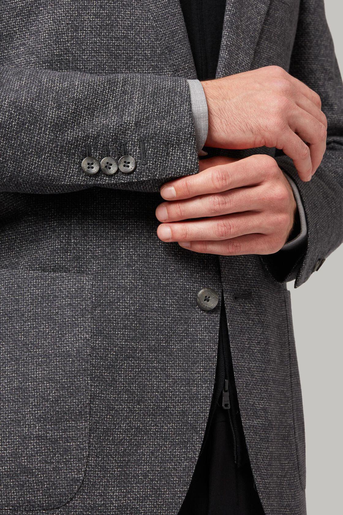 Dunkelgraue jacke aus bedrucktem woll-jersey, Grau, hi-res