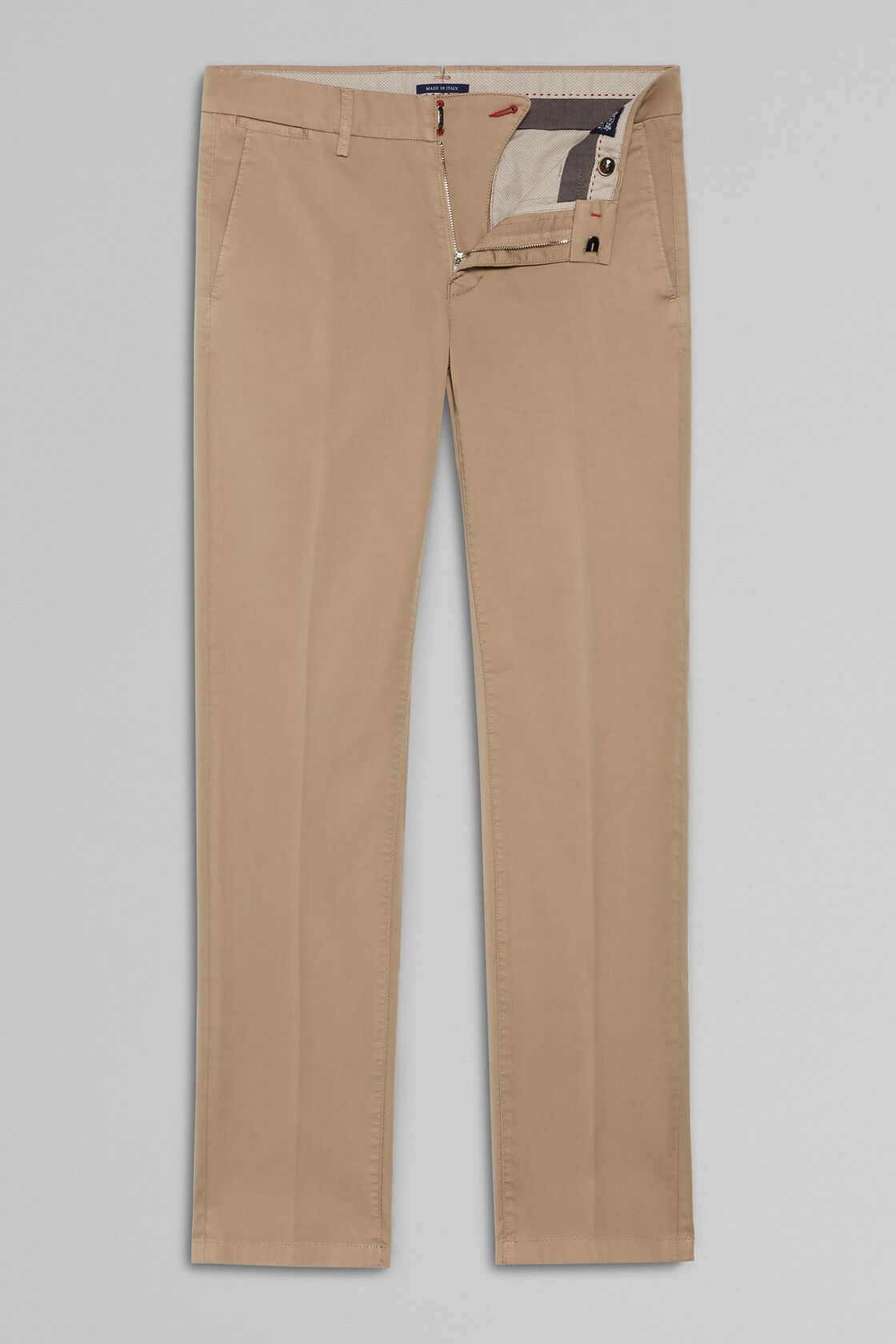 PANTALONE IN RASO DI COTONE STRETCH SLIM FIT, CAMMELLO, hi-res