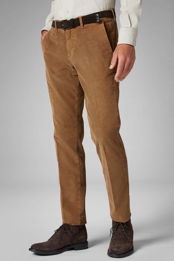 Slim Fit Corduroy Trousers, Camel, hi-res
