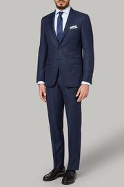 Marineblauer Anzug mit Pfauenaugenmusteraus Super 110 Wolle, , hi-res