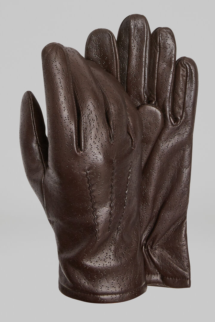 Peccary Print Leather Gloves, Dark brown, hi-res
