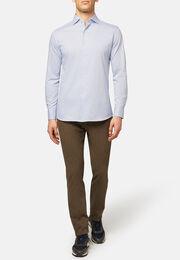 Polo camicia in jersey di cotone microfantasia, Blu chiaro, hi-res