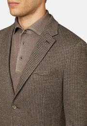 Giacca beige pied de poule in lana cotone b jersey, Nocciola, hi-res