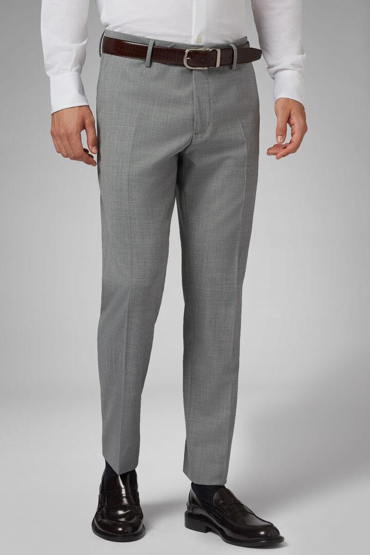 Pantalon En Laine Stretch Lavable Coupe Droite, Gris clair, hi-res
