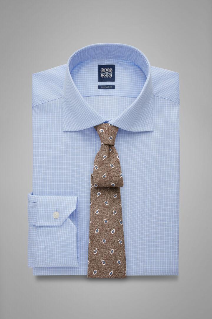 Regular Fit Sky Blue Checked Shirt With Windsor Collar, Light blue, hi-res