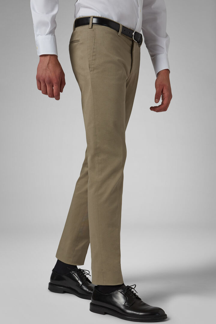 Slim Fit Stretch Cotton Gabardine Trousers, Beige, hi-res
