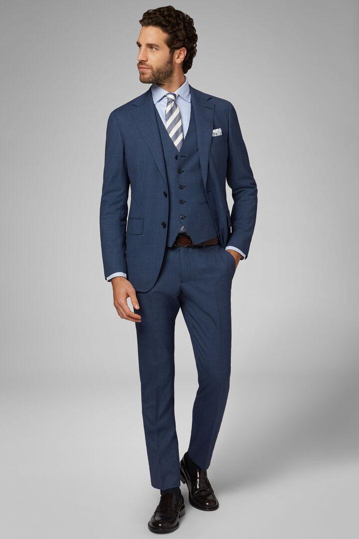 Anzug Blau Milano Aus Wolle, Blau, hi-res