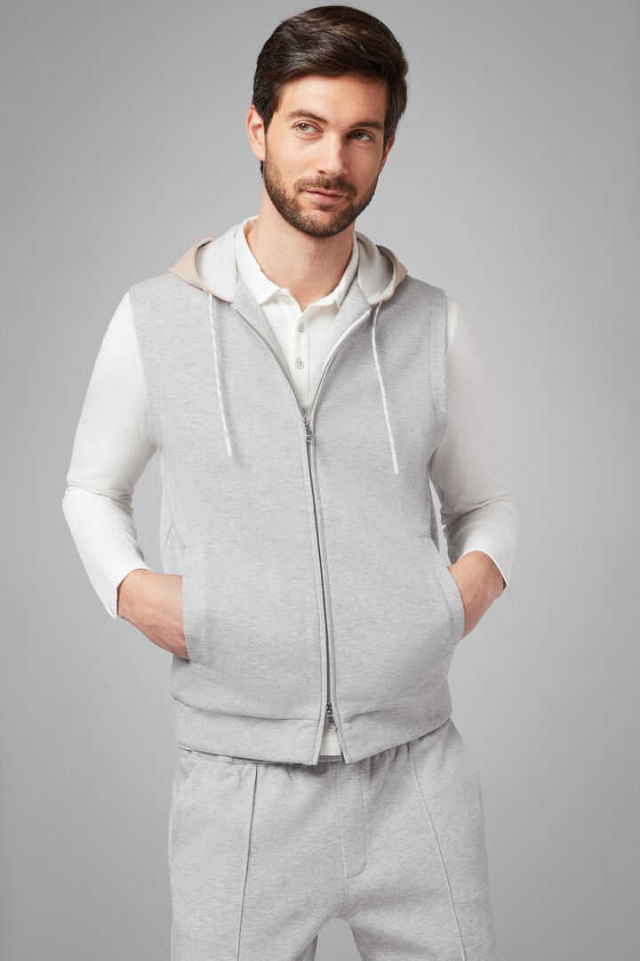 Sleeveless Hooded Sweatshirt In Stretch Cotton, Grey, hi-res