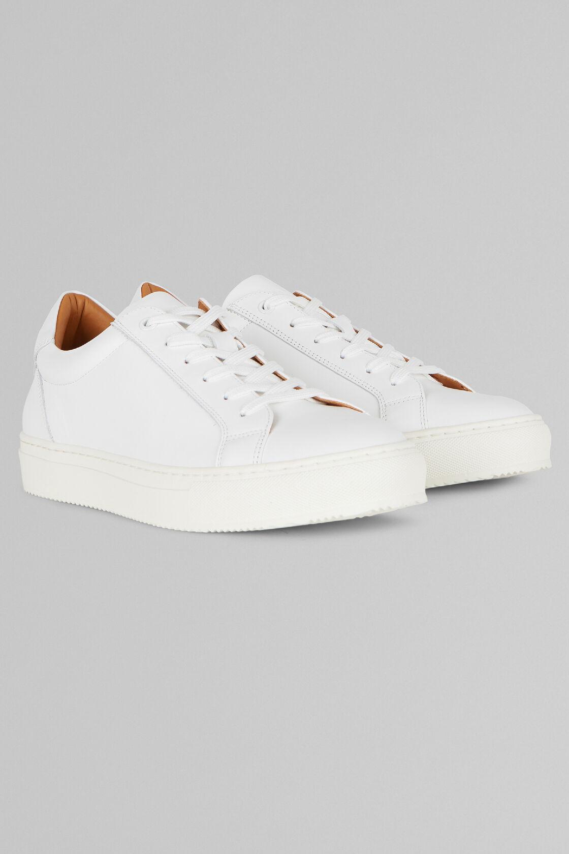 Sneaker Aus Glattleder, Weiß, hi-res
