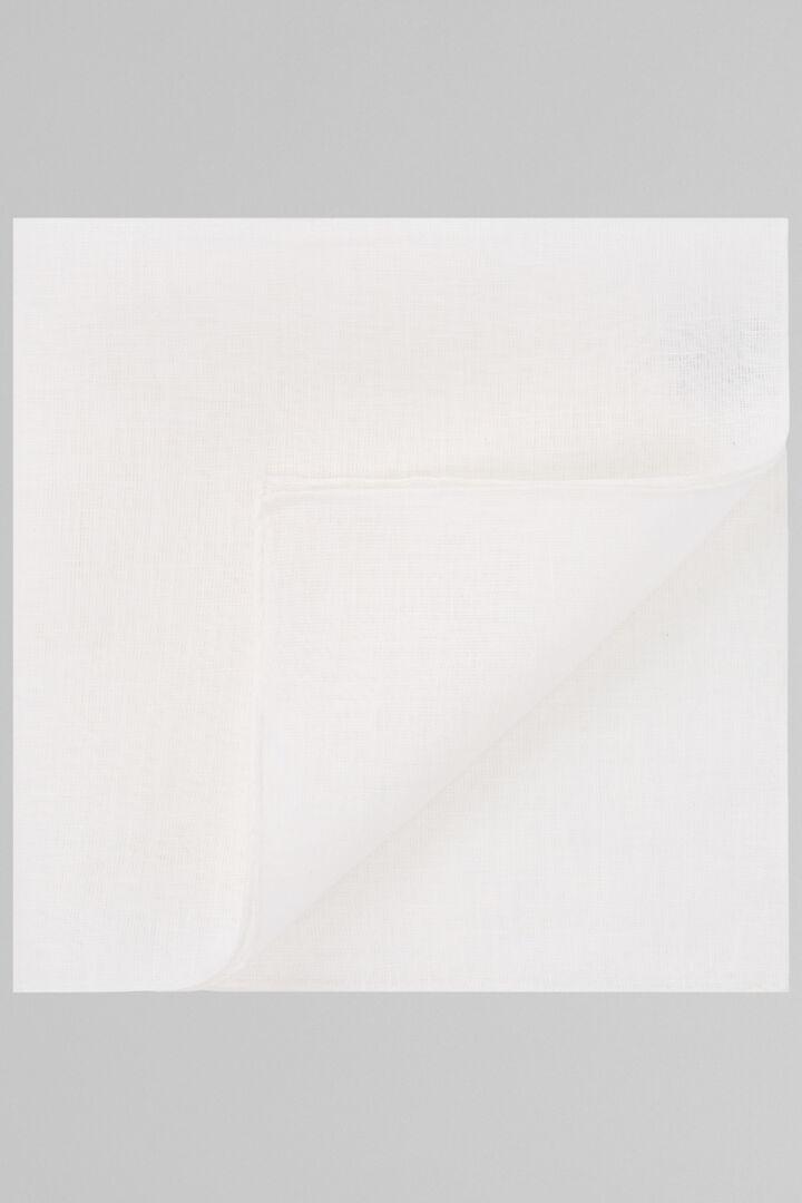 Plain White Pure Linen Pocket Square, White, hi-res