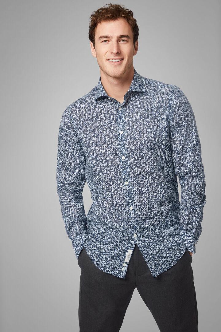 Slim Fit Blue Floral Print Shirt With Florence Collar, Blue, hi-res
