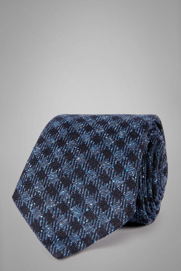 Vichy-Krawatte Aus Wolle, Seide Und Jacquard, Blau - Hellblau, hi-res