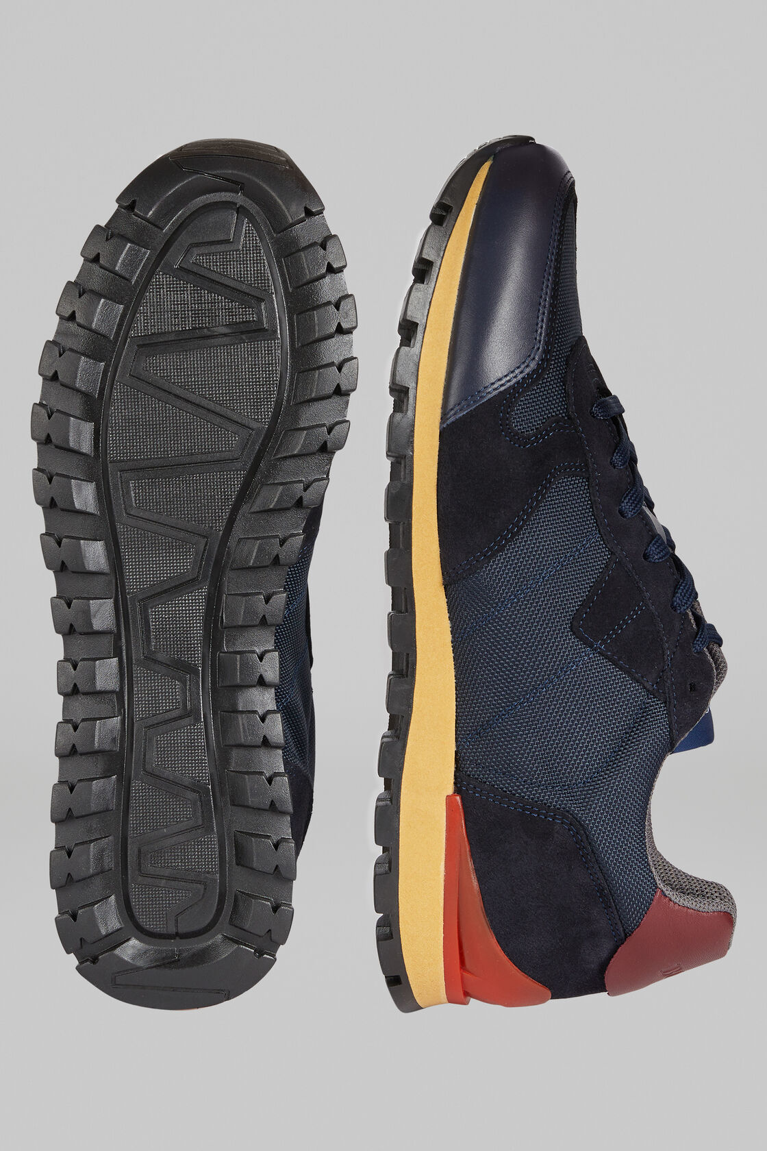 Sneakers Running Pelle E Nylon, Navy - Bordeaux, hi-res