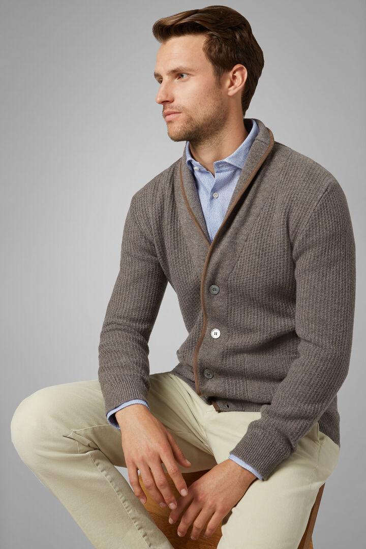 Pure Cashmere Shawl Collar Jumper, Taupe (Turtle-dove), hi-res