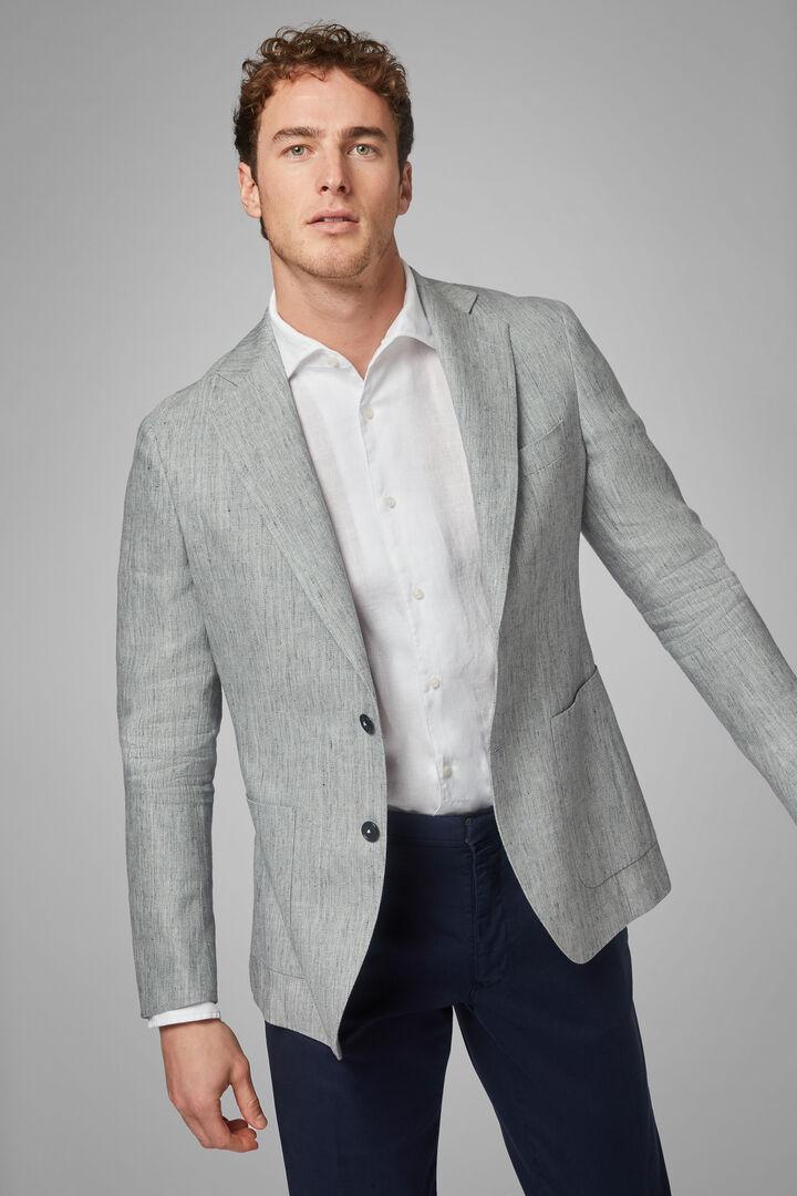 Light Grey Wool & Linen Blend Capri Blazer, Light grey, hi-res
