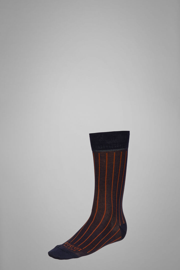 Short Socks With Contrasting Cuff, Navy - Light blue, hi-res
