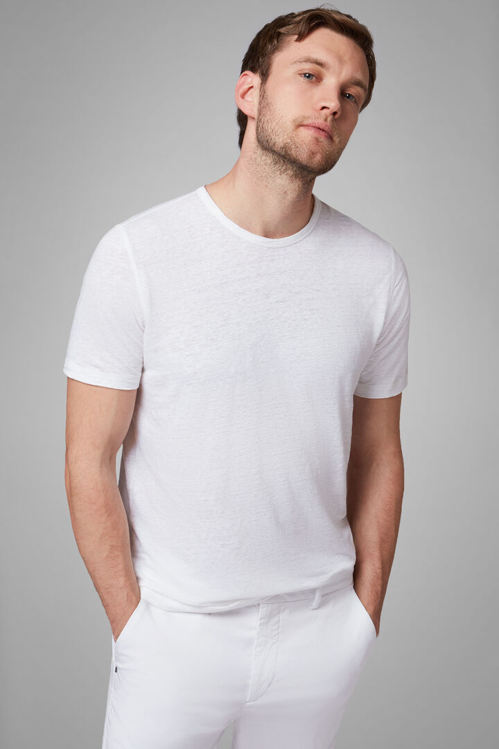 White Stretch Linen Jersey T-Shirt, White, hi-res