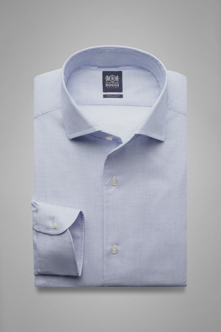 Hemd Mit Blauem Karomuster Und Capri-Kragen Regular Fit, Blau, hi-res