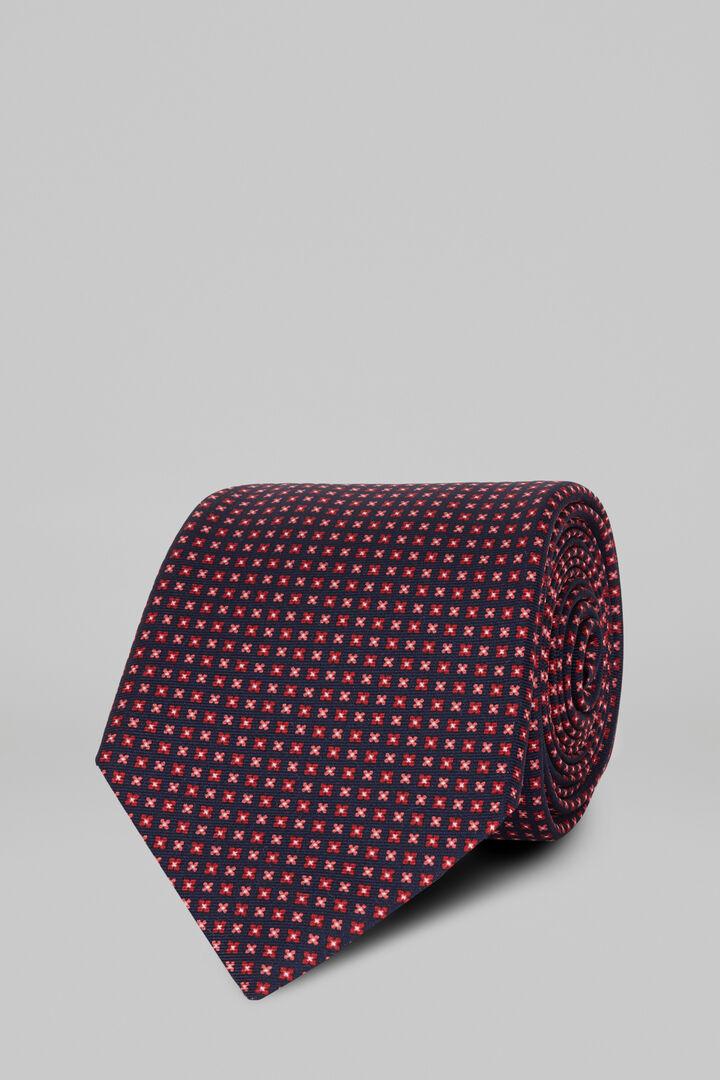 Printed Silk Tie, Blue - Orange, hi-res