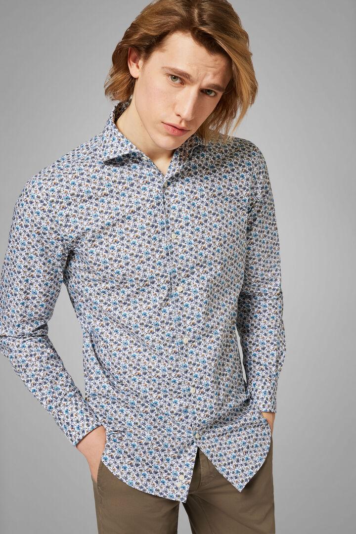 Hemd Mit Blumenmuster In Azurblau Und Graumit Bowling-Kragen Regular Fit, Grau - Hellblau, hi-res