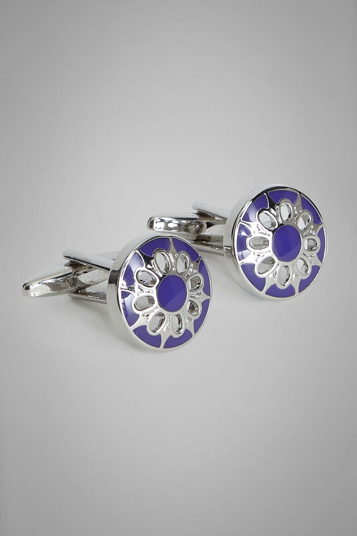 Coloured Metal Round Floral Cufflinks, Blue, hi-res