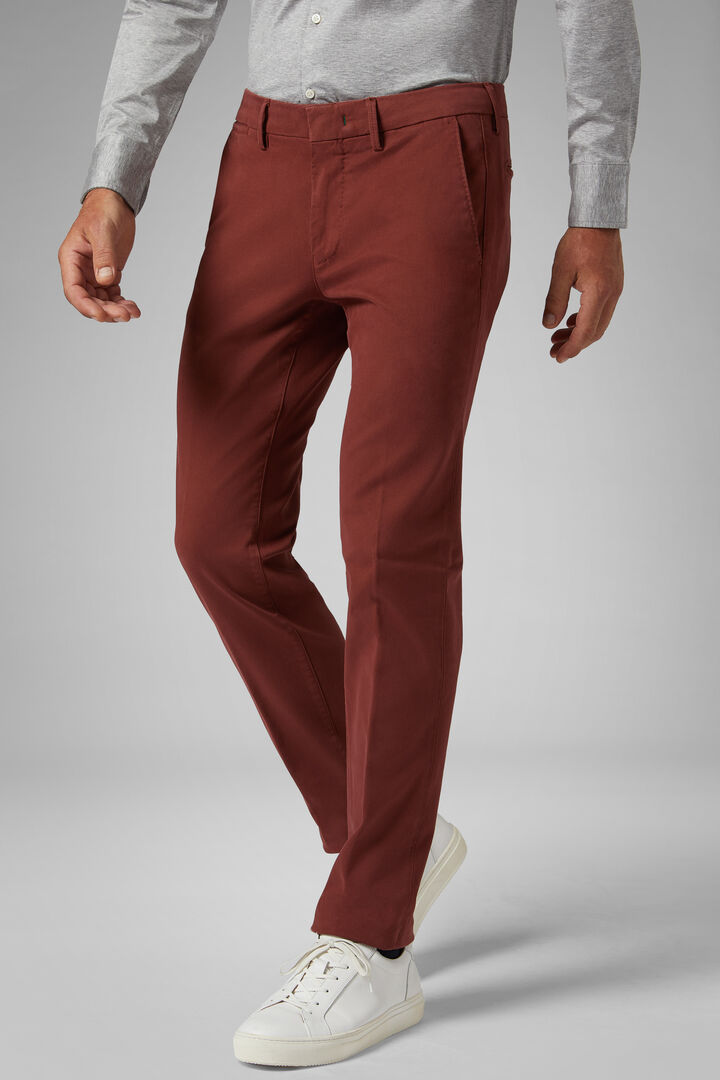 Pantalon En Tricotine De Coton Stretch Coupe Ajustée, Rouge brique, hi-res