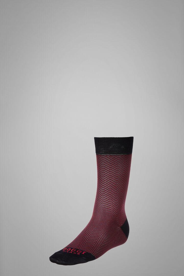 Short Socks With Macro Herringbone Motif, Navy - Burgundy, hi-res