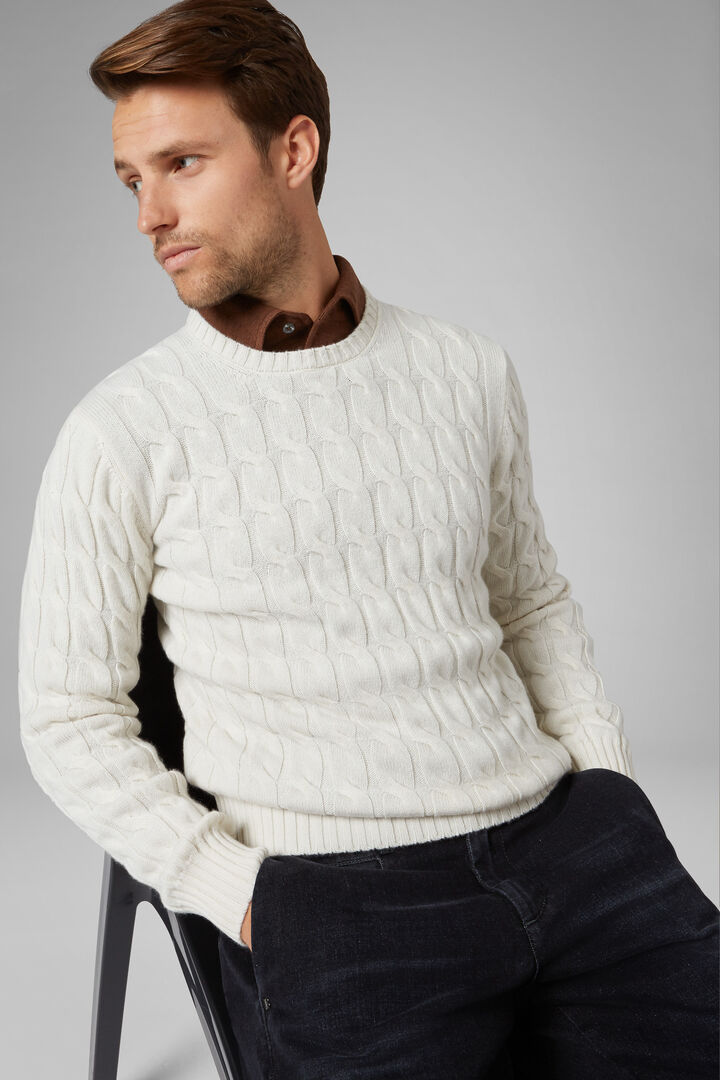Pure Cashmere Round Neck Jumper, Cream, hi-res
