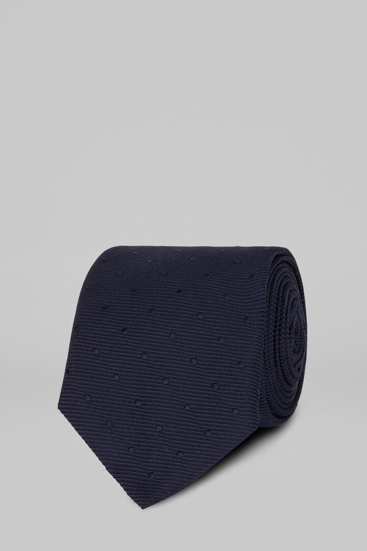 Cravatta Pois In Seta Jacquard, Blu, hi-res