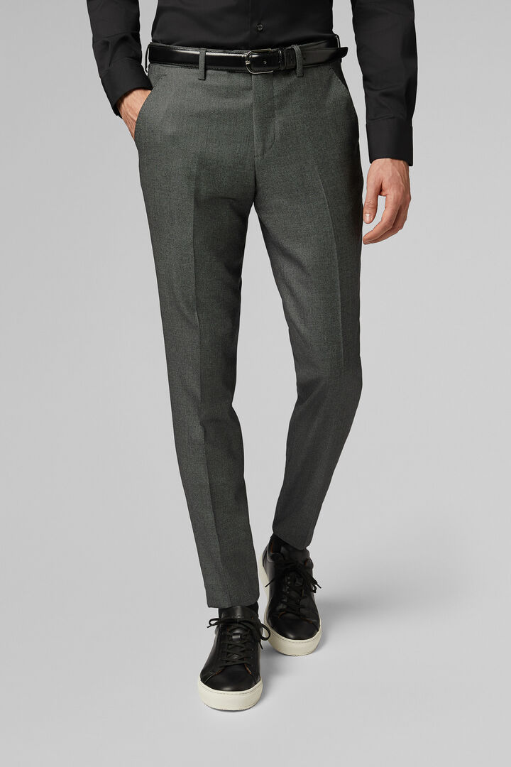 Slim Fit Medium Grey Wool Suit Trousers, Medium grey, hi-res